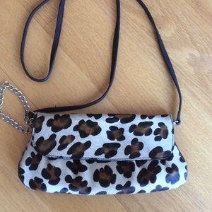 Leopard leather and haircalf handbag. Never used!